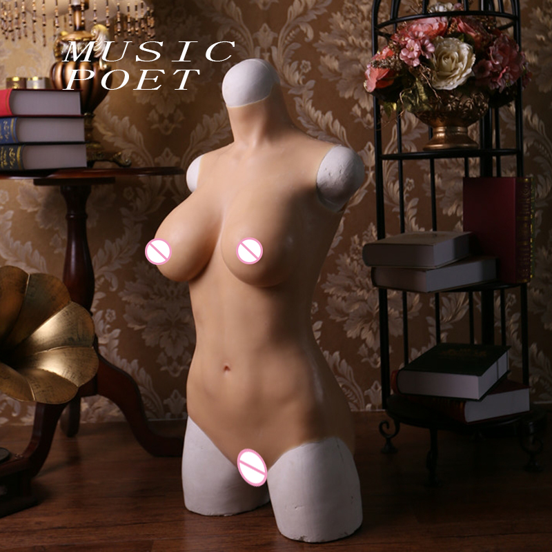 C D E cup solid silicone boobs Bodysuit for Crossdresser with sleeves and breast form Buttocks pad breast