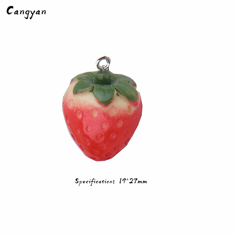 2pcs Three-dimensional Simulation Strawberry Diy Toy Accessories Red Strawberry Bag Key Ring Accessories Toy Children Handmade