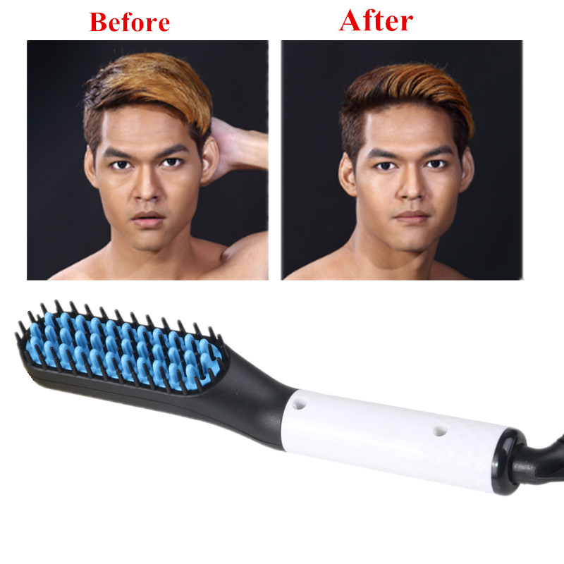 2019 Ionic Beard Straightener Comb Electrical Heated Irons Hair Straightening Brush for man and women with Faster Heating in Straightening Irons from Home Appliances