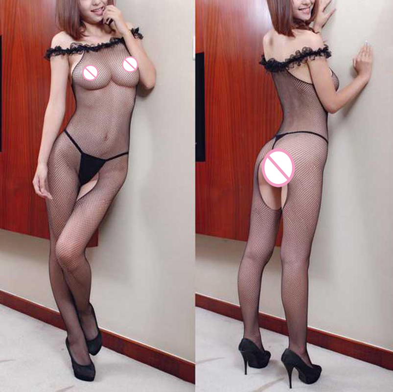 Buy Sexy Open Crotch Stockings Fishnet Body Stocking Female Erotic Body Costumes Sexy Lingerie Women Underwear Sexy Teddy Intimates