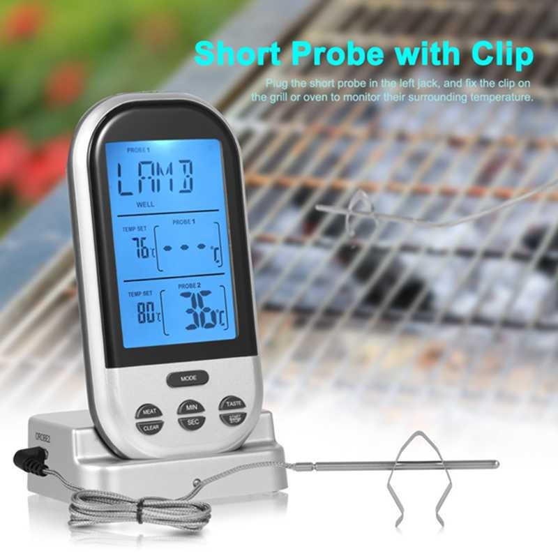Digital Meat Thermometer Wireless BBQ Food Cooking Thermometer Barbecue Thermometer 2 St ...