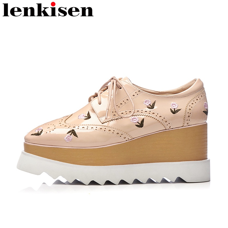 Lenkisen 2018 embroidery flower lace up platform round toe handmade causal shoes wedge high heels increased