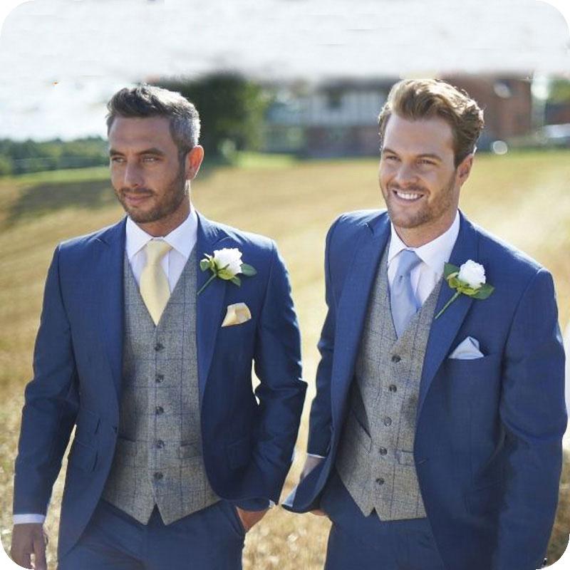 Royal Blue Slim Fit Wedding Suits Country Groom Tuxedos 2 Pieces (Jacket+Pants) Bridegroom Men Best Man Blazer