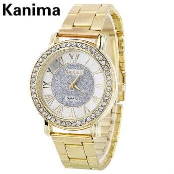 91dda98253c7 Kanima números romanos moda oro pulsera mujer relojes Top marca de lujo  mujer reloj de cuarzo señoras relojes Montres Femmes