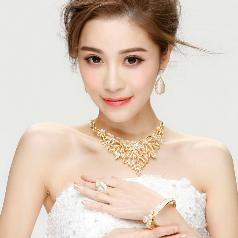 New Jewelry Luxury Necklace Women Bridal Wedding Party Platinum Plated Lead Free