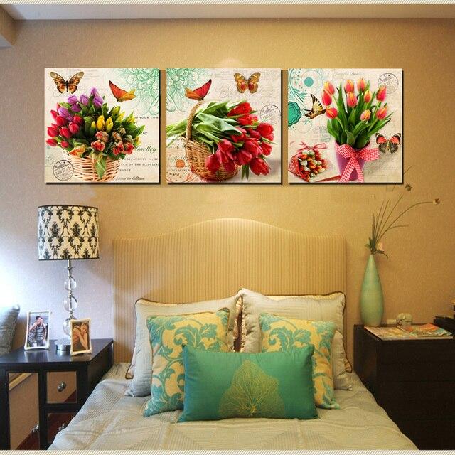 2017 3 Piece Unframed Modern Bunch Floral Canvas Print Tulips ...