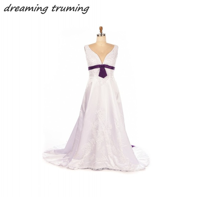 Purple And White Wedding Dresses Plus Size Satin Embroidery Beaded ...
