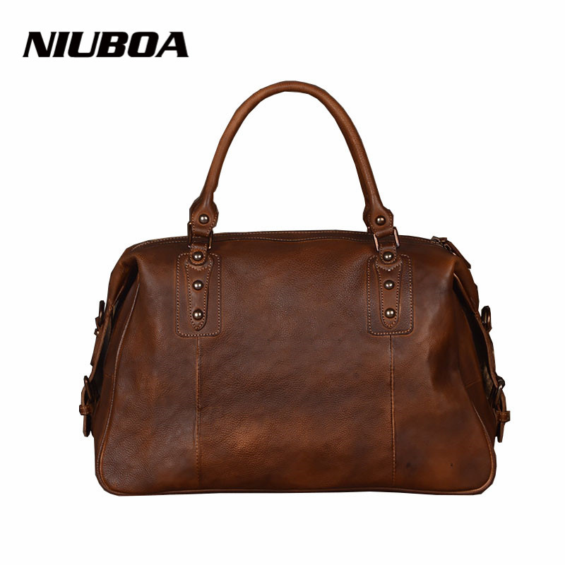 New Women Handbag Genuine Leather Shoulder Bag 100% Cowhide Lady Casual Shopping Bags Vintage Leather Large Capacity Tote Bolsos 2017 esufeir brand genuine leather women handbag fashion shoulder bag solid cowhide composite bag large capacity casual tote bag