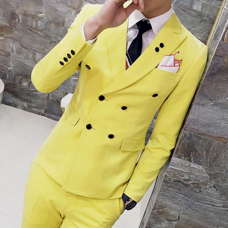 Negro gris naranja rojo azul real amarillo traje hombres doble Breasted Slim Fit hombres boda trajes 3 piezas Smoking Homme mariage Q529-in Trajes from Ropa de hombre    1