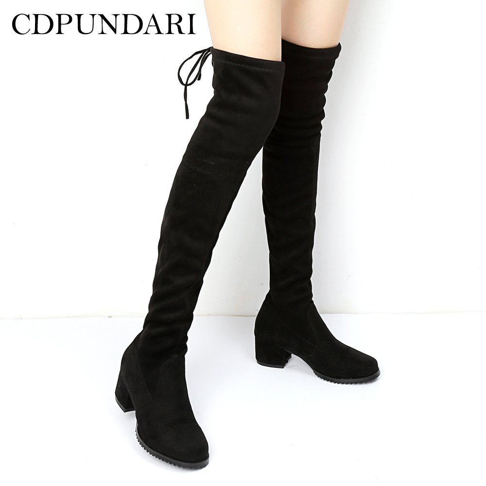 CDPUNDARI Stretch Fabric over the knee boots women thigh ...