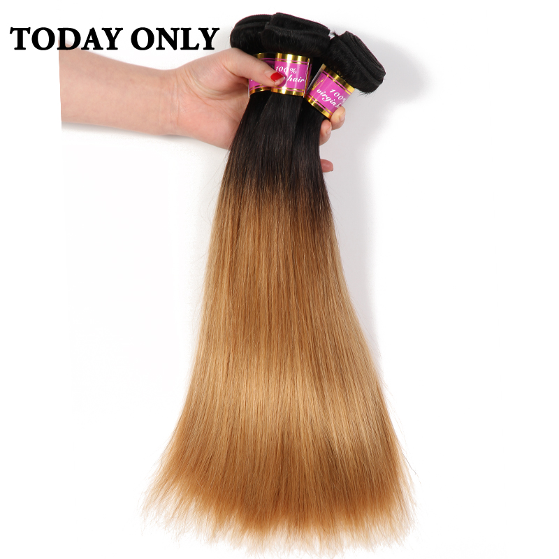 Today Only Blonde Brazilian Straight font b Hair b font Weave Bundles Ombre font b Human