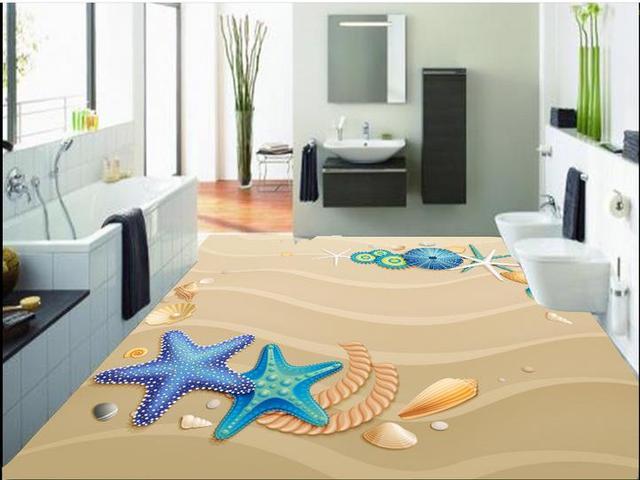 Custom 3d Piso Playa De Arena Suelo De Pvc Fondo De Pantalla 3d Para Baños  Piso