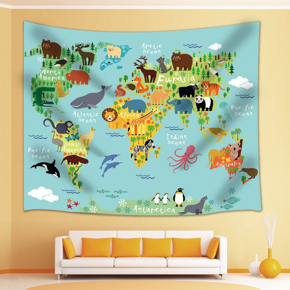 Cartoon Mountains Forests Animals World Map For Children Kids Tapestry Wall Hanging For Bedroom Living Room Dorm