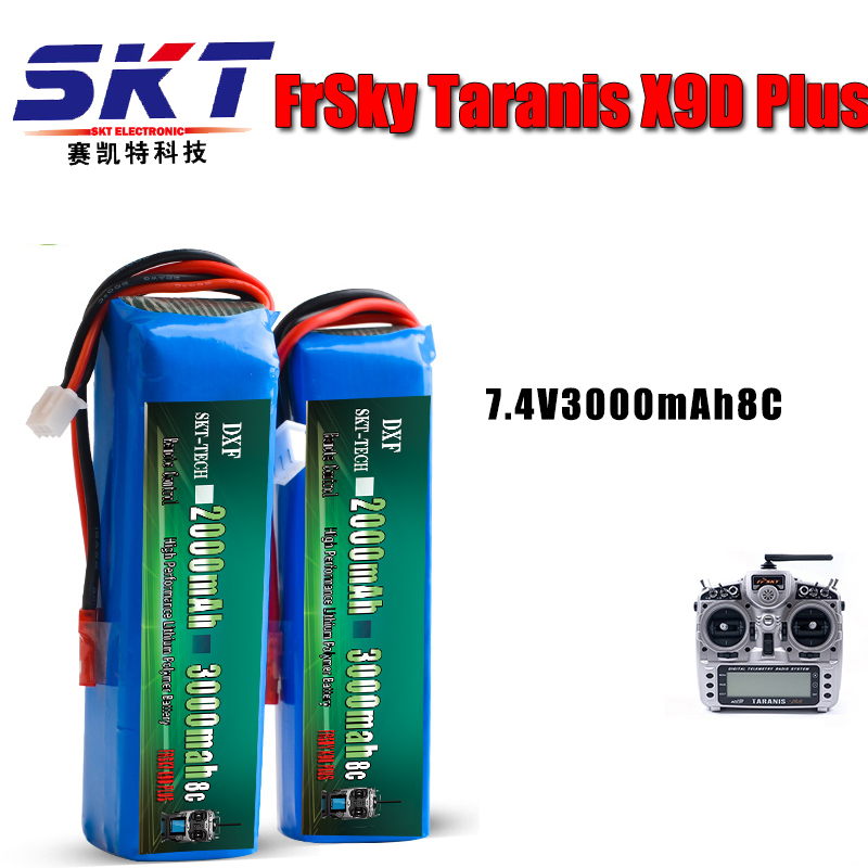 2017 DXF RC Lipo Battery 7.4V 2000MAH 3000MAH Battery for FRSKY X9D PLUS RC Transmitter Remote Control Battery 3 6v 2400mah rechargeable battery pack for psp 3000 2000