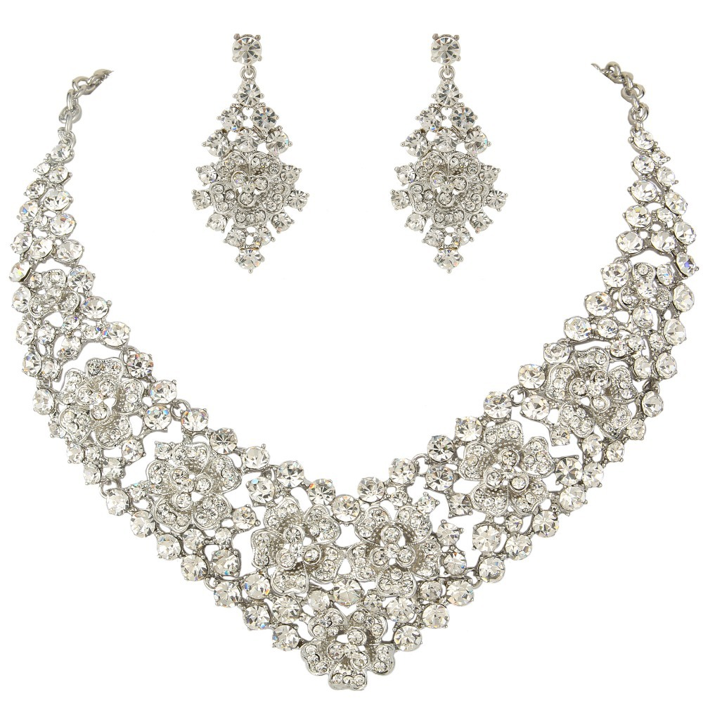 Bella 2015 New Flower Tear Drop Necklace Earrings Set For Bridal Bride  Marquise Dangle Jewelry Sets