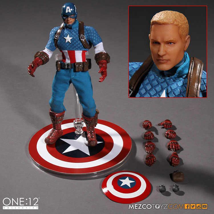 MEZCO Marvel Capitán América versión uno: 12 juguetes de figura de acción BJD de alta calidad