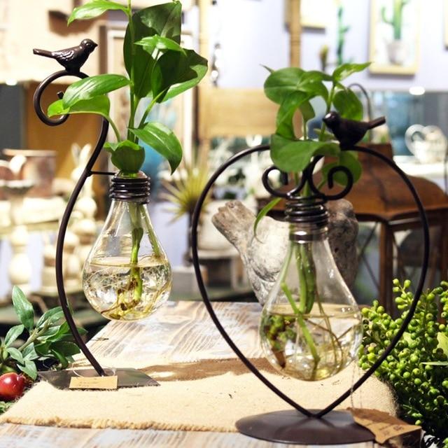Creative Modern Style Glass Bulb Vase Tabletop Plant Flower Wedding