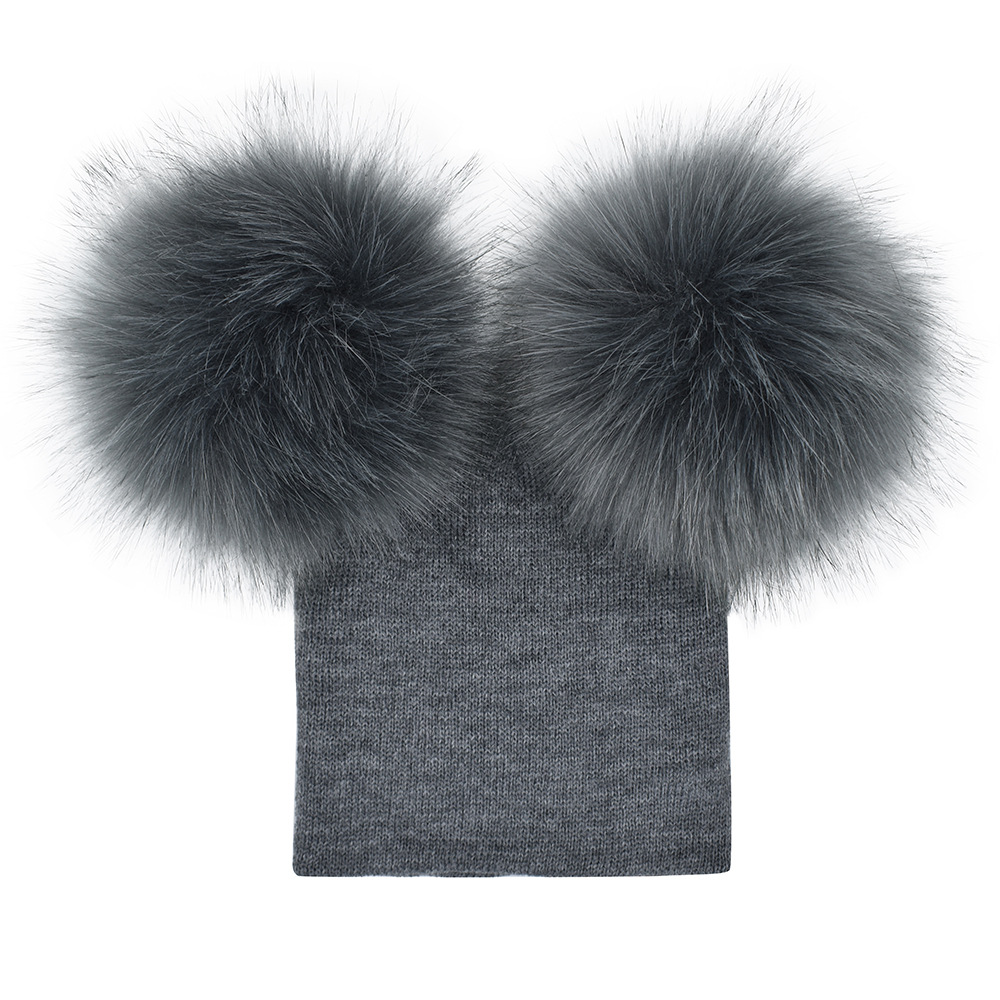 New Children Toddler Kids Baby Warm Winter Faux Fur Knit Beanie Fur Pom Pom Bobble Hat Cap Winter Warm Hat For 6M-5Y