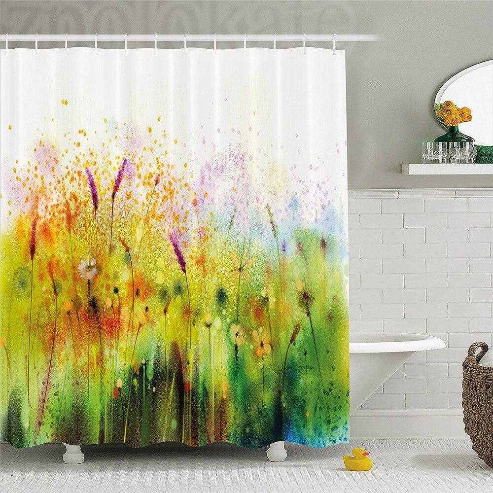 Watercolor Flower Home Decor Shower Curtain Trippy Violet Garden ...