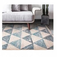 Modern style white geometric mix blue carpet , living room carpet, rectangle ground mat , Pastoral home decoration mat