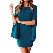 Mini dress women winter casual autumn winter dress 2018 solid o-neck dress women holiday vestidos mujer 2018 casuales 40dc12