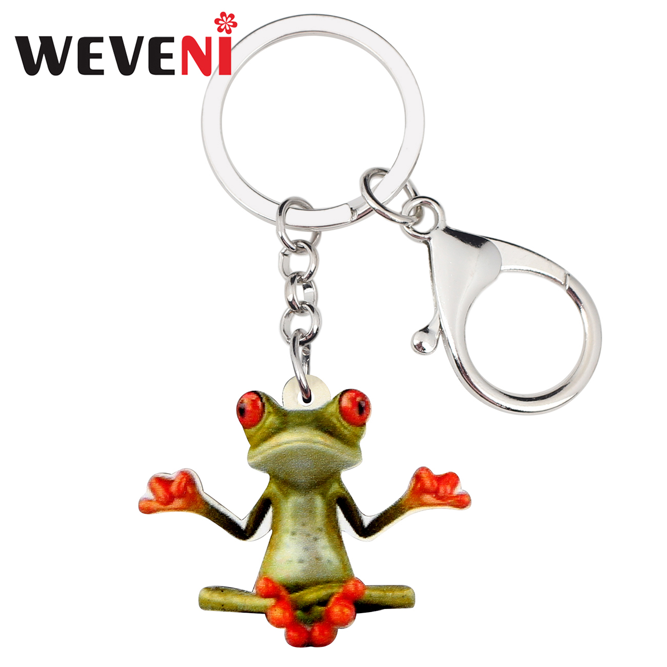 WEVENI Acrylic Meditation Frog Key Chains Keychain Holder Anime Animal Jewelry For Women Girls Bag Car Purse Charms Gift Pendant