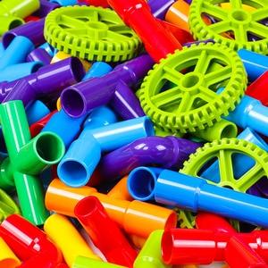 Image 5 - الإبداع الأنابيب اللبنات تجميع لعبة للأطفال التعليمية نفق كتلة نموذج الطوب