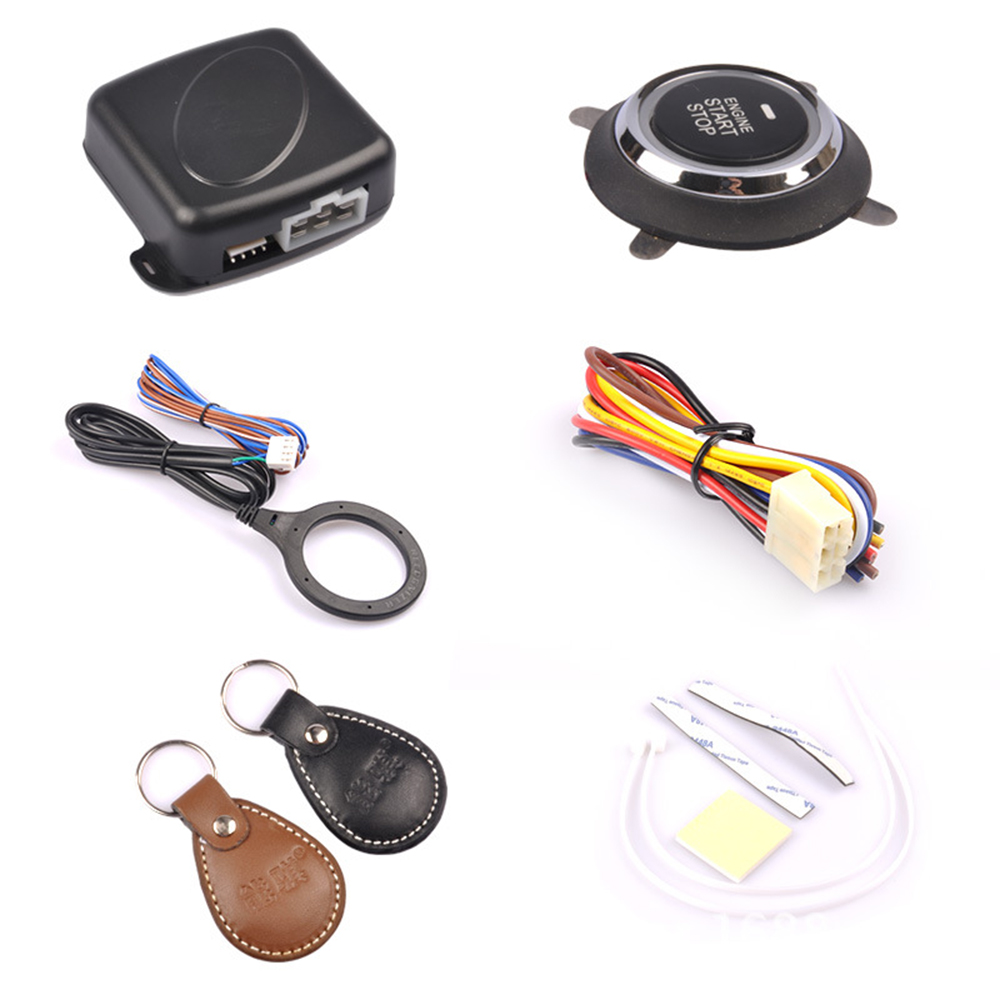 Auto Car Alarm Engine Start Push Button Start Stop RFID Lock Ignition Switch Keyless Entry System Starter Anti-theft CY932-CN easyguard pke car alarm system remote engine start stop shock sensor push button start stop window rise up automatically