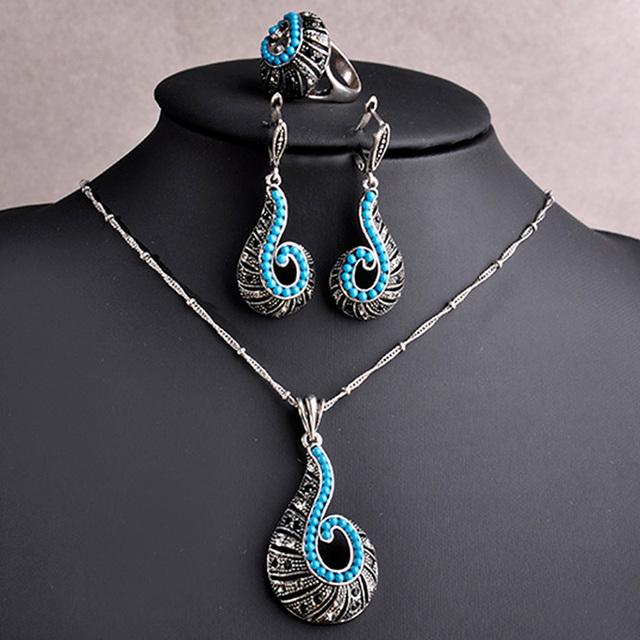 Conjuntos de Jóias Azul Turquesa de Prata Antigo do vintage Banhado Parafuso Em Forma de Colar Brincos Anel Set Mulheres Beads Africanos Jóias