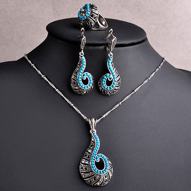 Vintage Turquoise Blue Jewelry Sets Antique Silver Plated Screw Shaped Necklace Earrings Ring Set Women African Beads Jewelry