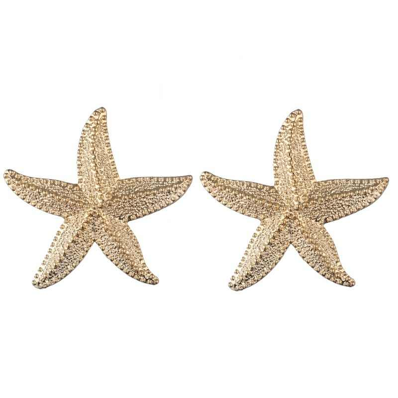 Big star earrings for women gold color vintage starfish  stud earrings 2019 large earings girl fashion summer jewelry