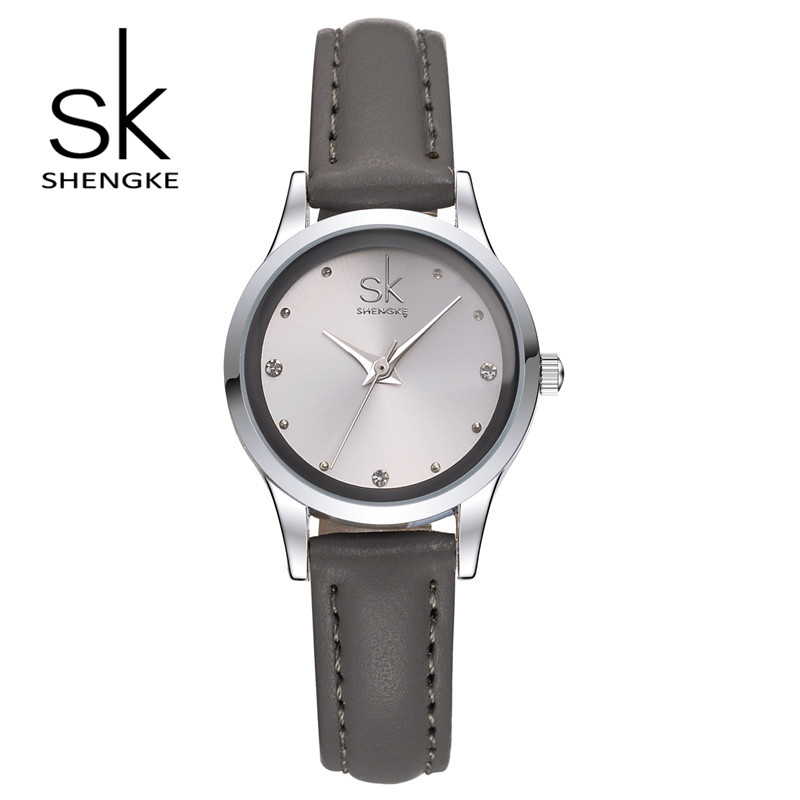 Shengke Brand Fashion Women Watches Leather Wrist Watches Ladies Casual Analog Silver Case Quartz Watch Relogio Feminino Gift SK shengke watches women brand luxury quartz watch women fashion relojes mujer ladies wrist watches business relogio feminino 2017