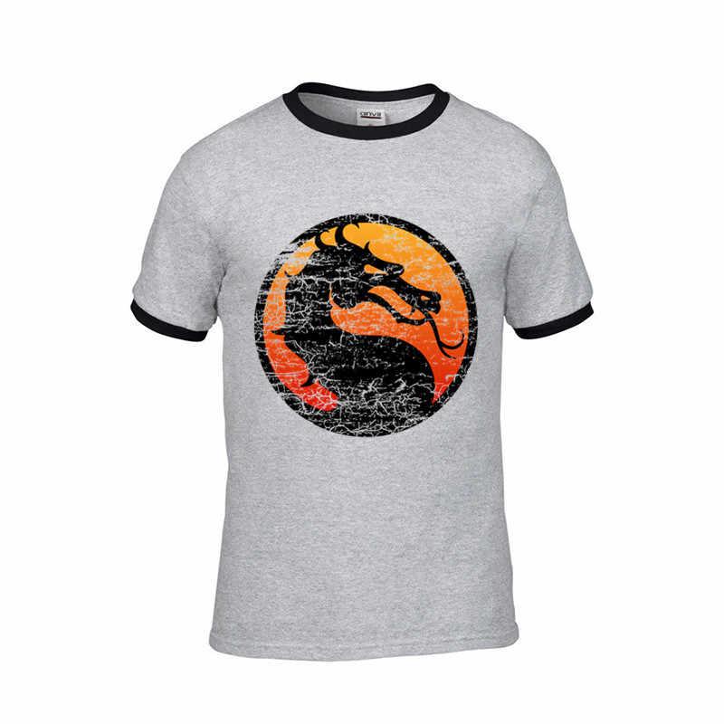 2018 Hot jogo Mortal Kombat Afligido Logotipo w Fronteira T-Shirt do logotipo personalizado Dos Homens camiseta de algodão masculina roupas amigos tv tshirt preta