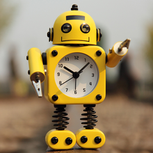 Creative Robot Students Alarm Clocks Cute Cartoon Night Light Quartz Clock for Children Candy colors Desktop Table Clock(China)