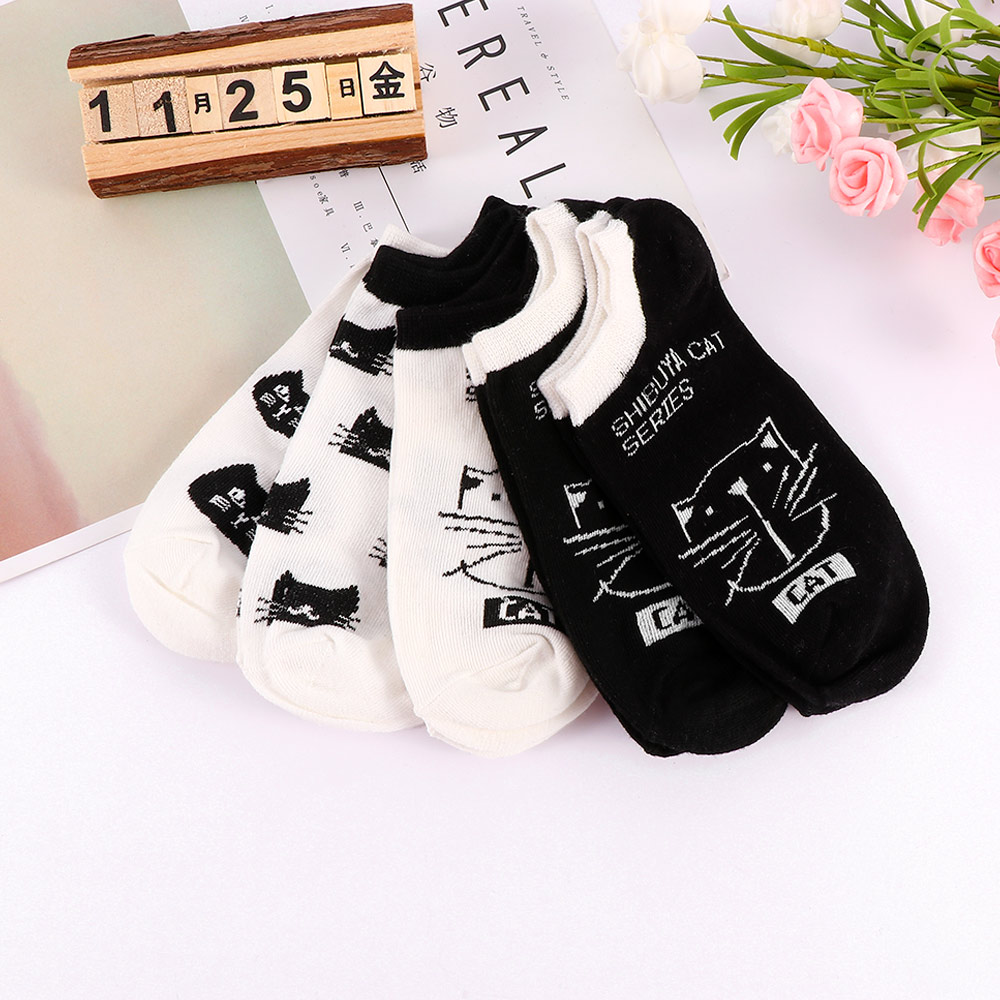 Cute Animal Cotton Socks Female Kawaii Cat Striped Summer Short Socks Slippers Women Creative Casual Funny Boat Socks
