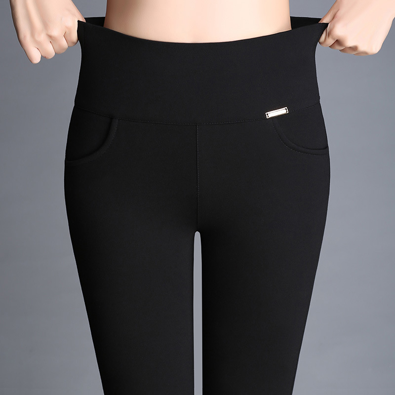 Female Pencil Pants 2020 Spring And Autumn Black High Waist Stretch Large Size Small Feet Casual Women's Trousers DJ005