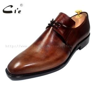 Image 2 - cie Free Shipping Handmade Genuine Calf Leather Mens Dress/Classic Derby Color Brown Patina Square Toe Italian shape Shoe NoD43