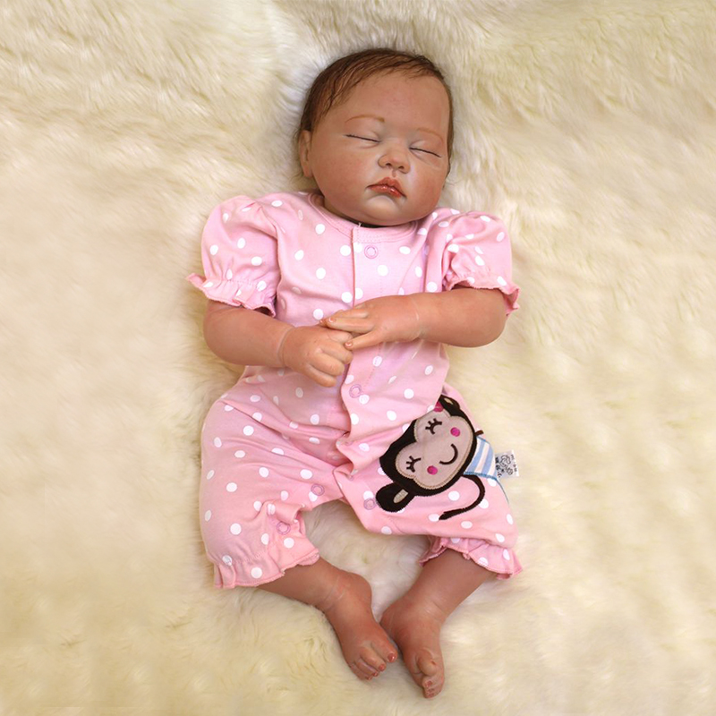Nicery 20inch 50cm Bebe Doll Reborn Soft Silicone Boy Girl Toy Reborn Baby Doll Gift for Children Pink Clothes Monkey Girl Doll [mmmaww] christmas costume clothes for 18 45cm american girl doll santa sets with hat for alexander doll baby girl gift toy