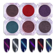 6Pcs 3D Cat Eye Magnet Nail Powder Magic Magnetic Glitter Dust UV Gel Polish Manicure Nail Art Pigment Decoration