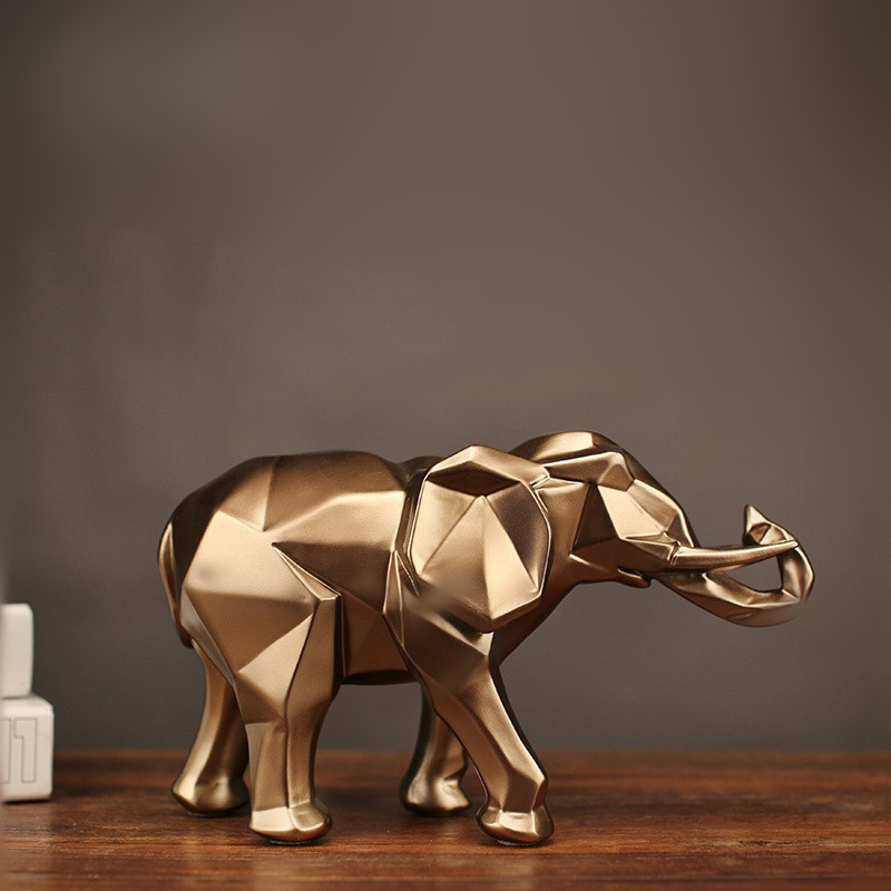 Modern Abstract Golden Elephant Statue Resin Ornament Home Decoration Accessories Gifts Elephant Sculpture Animal Crafts