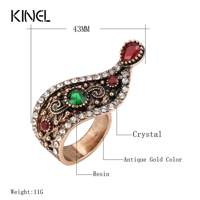 Hot Turkish Jewelry Antique Rings For Women Unique Ounk Style Gold Color Crystal Vintage Ring Wholesale 2017 New