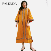 cotton dress yellow color embroidery