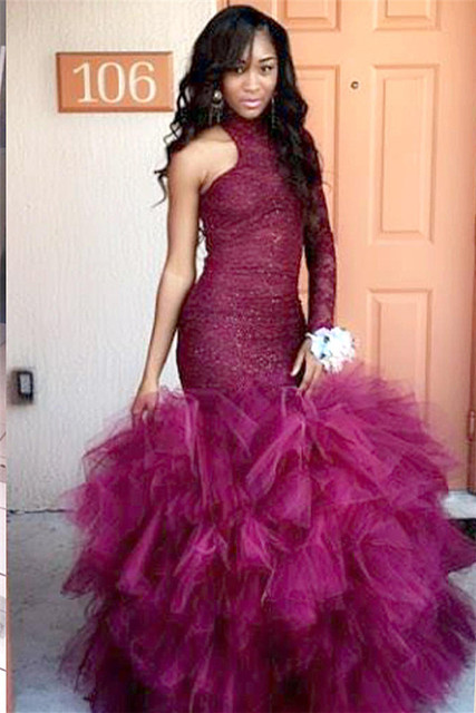 Tulle Mermaid Latest Lace High Neck Puffy Specail One Sleeve Prom ...