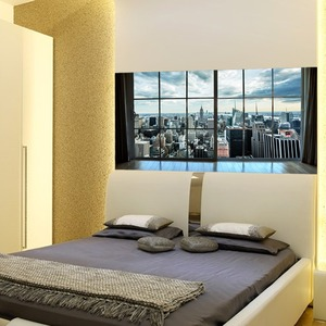 Image 4 - Manhattan New York City Szene Stadt Scape Schlafzimmer TV Wand Wohnzimmer Hintergrund Wand Papier Aufkleber