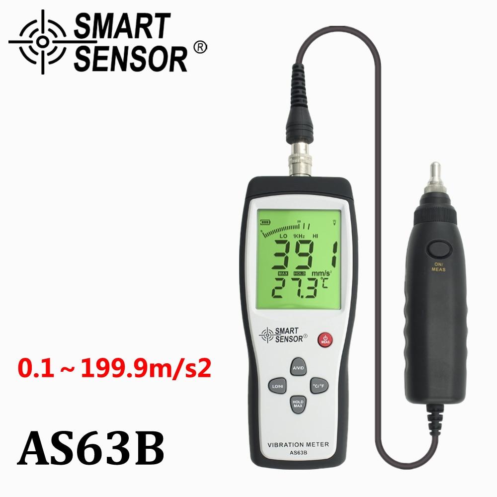 Digital Vibration Meter 10HZ~1KHZ 0.1~199.9m/s Precision Smart Sensor AS63B Vibration Measurer Tester Gauge Analyzer W/Carry Box