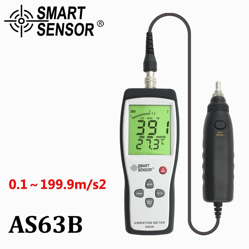 Medidor de vibração Digital hz ~ 1 10 AS63B khz 0.1 ~ 199.9 m/s Precisão Sensor Inteligente medidor de Vibração Tester Medidor analyzer W/Carry Box