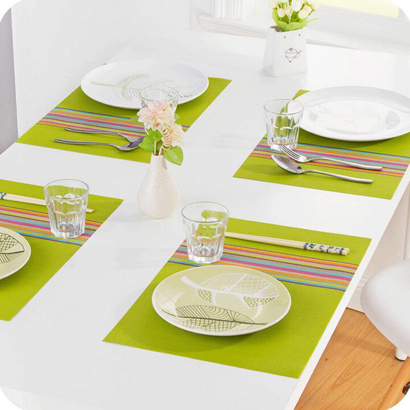 4Pcs Set PVC Placemat Dining Table Mats Bowl Pad Weave Waterproof Napkin