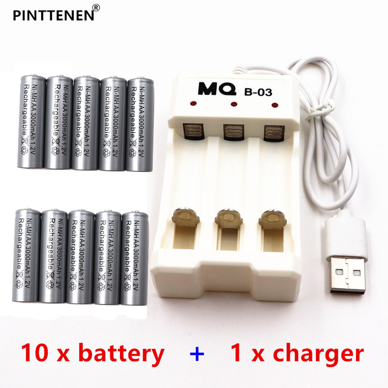 10PCS high capacity gray AA rechargeable battery NiMH 1.2V 3000mAh electric toy remote control razor battery + USB smart charger