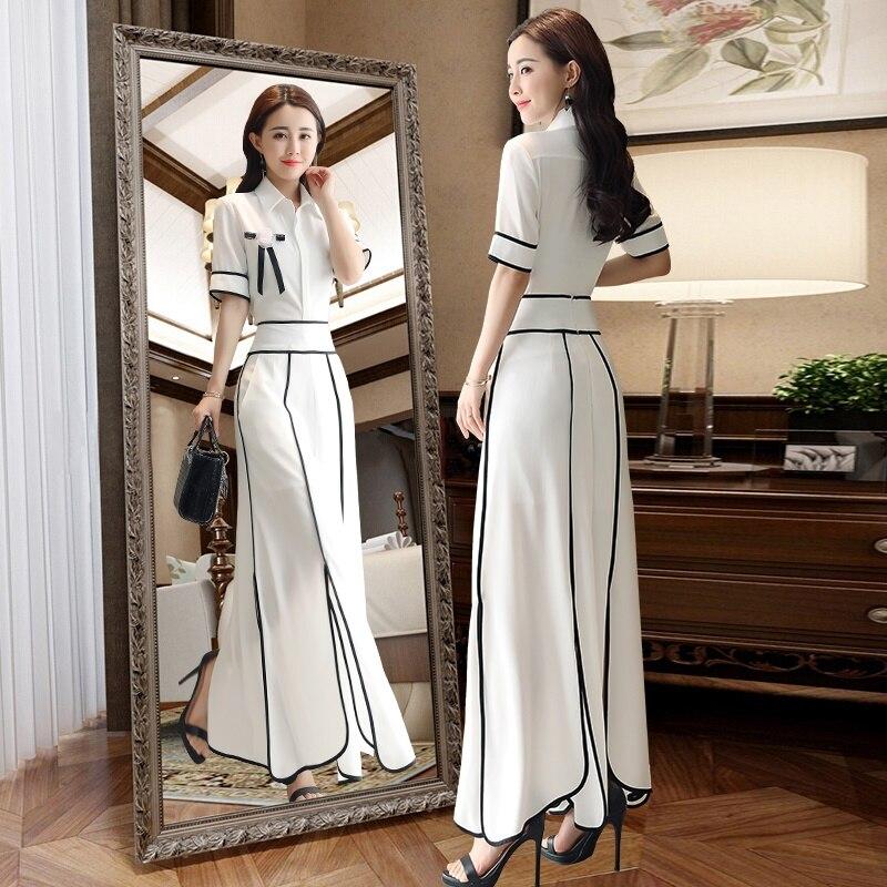 White Black Korean Women Business Suit Summer 2019 Womens Two Piece Sets Chiffon Elegant Woman Pants And Blouse Set DD2159