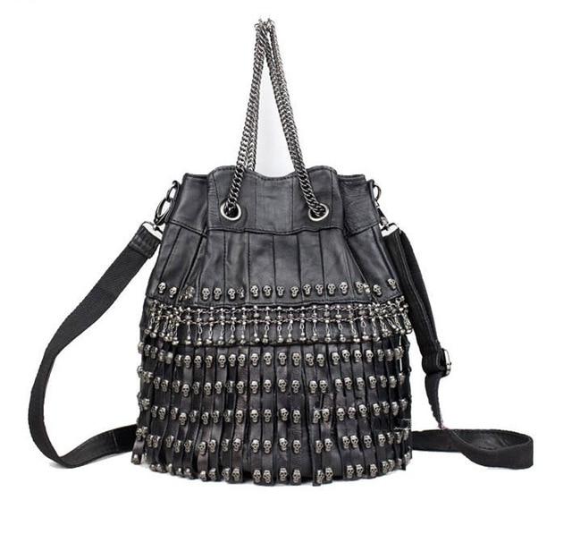 skull rivet tassel chain one shoulder cross-body women handbags  sheepskin Genuine Leather handbags